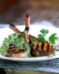 Lamb Chops With Cilantro And Mint Sauce