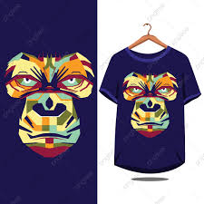 T Shirt Design Vector Free Download Gorilla Face T Shirt Design Monkey Isolated Cute Png And