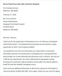 Sample Thank You Letter After Rn Interview Milviamaglione Com