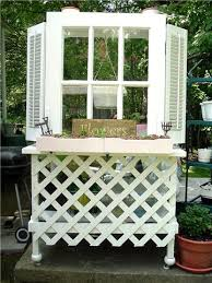 potting bench made of an old door and shutters