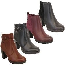 las chelsea boots womens block heel leather look
