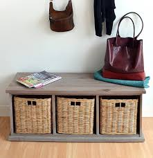 Wicker Basket Cabinet Gloucester 3 Seater Storage Bench In Blue Grey Finish With 3