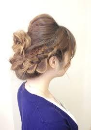 編み込み成人式小顔に見えるの人気ヘアスタイルおしゃれな髪型画像