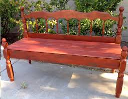 how to build a bench from a bed with a barn red finish say that three times fast