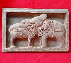 antique wooden elephant cow wall panel