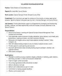 Pr Job Descriptions And Duties Volunteer Social Work Intern Job ...