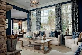 navy blue curtains home living room traditional beige sofa art