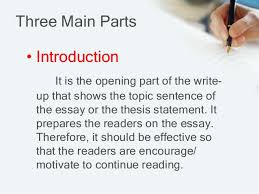 an introduction to essay its parts and kinds 3 three main parts • introduction