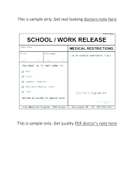 Doctors Note For Work Template Free Examples Of Doctor Excuse