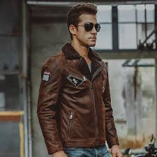 men s genuine leather jacket pigskin real leather jackets with faux fur shearling motorcycle er jackets 1