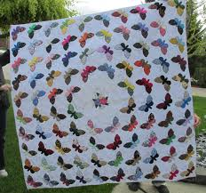 Custom Quilt Samples | Cote Quilts & Basket surrounded by applique butterflies Adamdwight.com