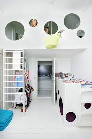 Captivating A Suspended Bunk Bed In A Kidu0027s Room Cleverly Designed For A Small Space