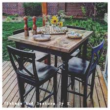 rustic high top dining table chair stand up bar table dining room sets with bench high