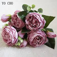 YO CHO <b>Fashion</b> Beautiful <b>Peony</b> Artificial Rose <b>Flowers</b> Wedding ...