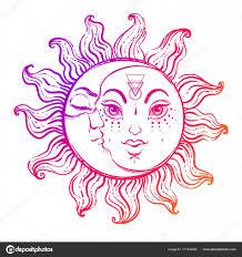 手のスケッチのトレンディな太陽と月しますエレガントなタトゥー