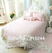 pink ruffle comforter luxury unique pink blue bedding set king queen cotton duvets cover solid color lace ruffle comforter set quilt bed cover