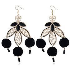 fuzzy ball beads leaf chandelier earrings black