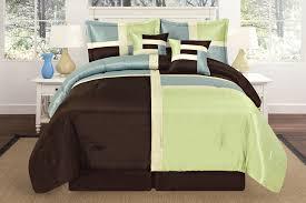 luxurious quilted sage green aqua blue brown patchwork comforter bedding set