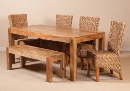 awesome milano rattan 6 seater light mango dining set with bench casa within mango wood table popular