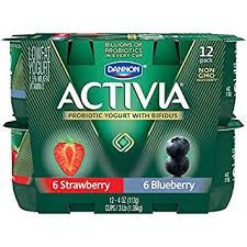 dannon activia lowfat yogurt strawberry blueberry variety pack 4 ounce pack of