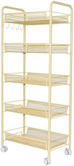3 tier 4 tier 5 tier rolling basket stand full metal rolling for kitchen bathroom tier storage w shelves wheels 5tier trolley cart nnepuc1269 furniture