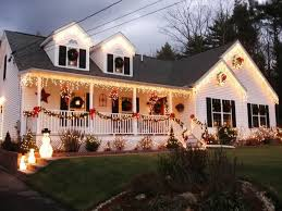 fancy christmas home outdoor decorations ideas stunning design ideas come with pine leaf railing decoration red ribbon and house outdoor lighting ideas design fancy o9 ideas