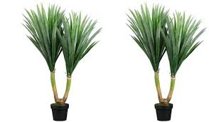 two inch indoor or outdoor artificial yucca palm trees potted plants silk large