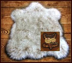 Faux Bearskin Rug Classic Faux Fur Pelt Accent Rug Russian Wolf Off White With