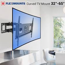 curved tv on wall. Unique Curved Fleximounts Curved TV Wall Mount Bracket For 3265 Inch With Max  600x400mm Plate VESA Size  Walmartcom Intended Tv On E