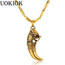 ซ อท ไหน men s necklace dragon wolf tooth pendant with stainless steel chain and gold color cool golden necklaces hip hop male jewelry ในประเทศไทย