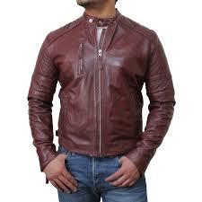 men s brown biker leather jacket