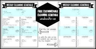 Weekly Household Cleaning Schedule Weekly House Cleaning Schedule Free Cleaning Schedule With Video