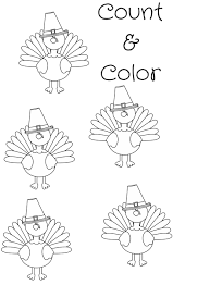 Free Turkey Printable Coloring Sheet Count Color Freebie A