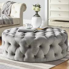 tufted ottoman light gray velvet