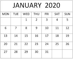 January 2020 Calendar Excel Pdf Template Free Latest