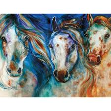 horse art on canvas and lion photos