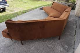 american gorgeous harvey probber style two piece curved sofa sectional mid century modern for