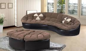 2pc chenille and black faux leather sectional with ottomans revitalized furnishingsrevitalized furnishings