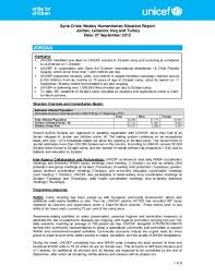 Situation Report Document UNICEF Syria Crisis Weekly Humanitarian Situation Report 8