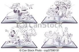set open book fairy tale csp37590191
