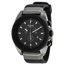 mens nixon watches nixon rover chronograph black dial black silicone mens watch a2901531