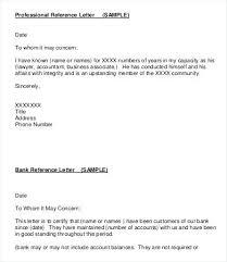 Letter Of Reference Sample Professional Letter Of Reference Sample