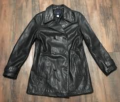 gap women s leather peacoat overcoat jacket black size small