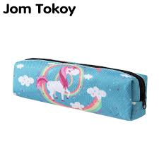 jom tokoy 3d print makeup bag 2018 the new women rainbow unicorn cosmetic bag stationery pouch kids pencil overnight bags for women private label