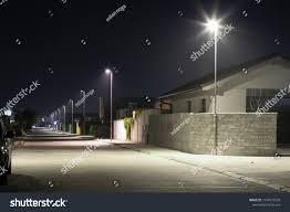 Street Lights In Villages Village Street Modern Led Streetlights Night Stock Photo