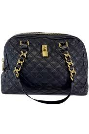 marc jacobs large black quilted leather bag