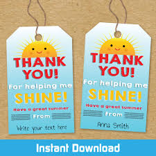 Summer Gift Tags Printable Sunshine Teacher Gift Tags Instant Download