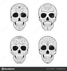 установите день мертвых сахар черепа подробной цветочным орнаментом