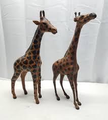 Vintage Leather Wrapped Giraffe African Safari Animal Hand Made