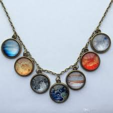 whole new design solar system necklace planet universe galaxy necklace antique brass pendant glass dome necklace wolf pendant necklace beaded